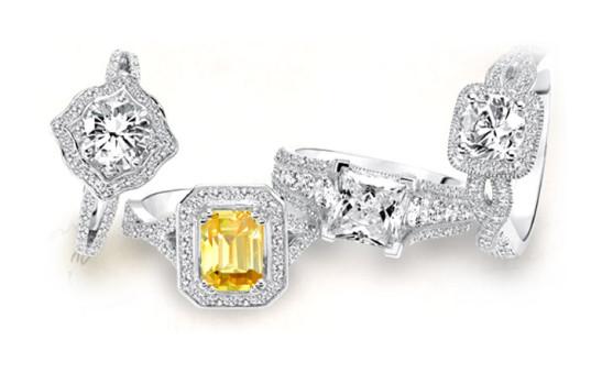 Art Carved bridal rings
