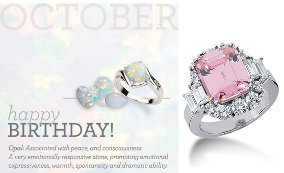 birthstone october ring anniversary gemstone double engagement opal stone rings halo round promise media