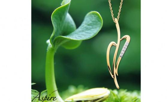 Aspire leaf heart pendant