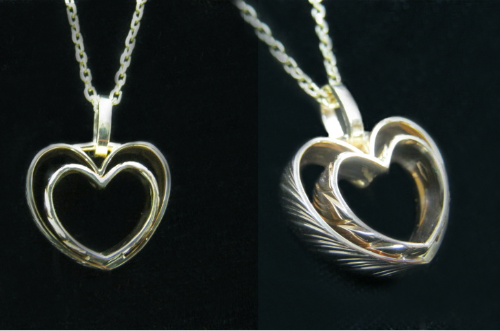 parent's heart ring pendant