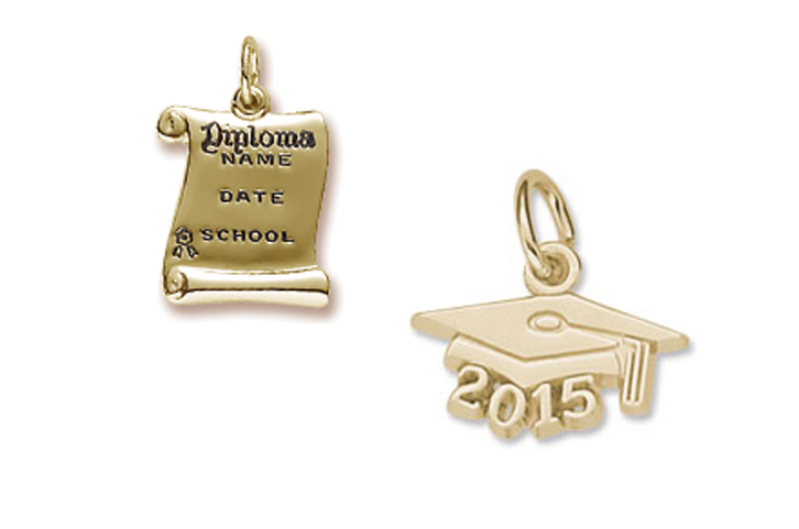 Rembrandt graduation cap and diploma charms